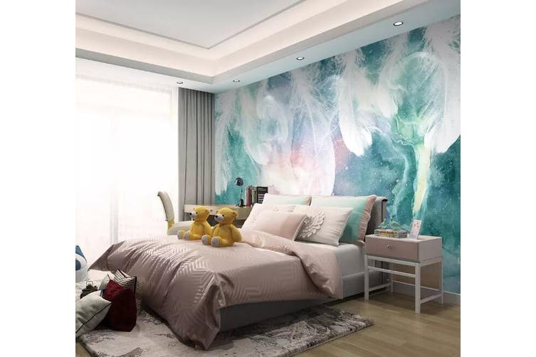 3D Colored Feather 919 Wall Murals Woven paper (need glue), XXXXL 520cm x 290cm (WxH)(205''x114'')