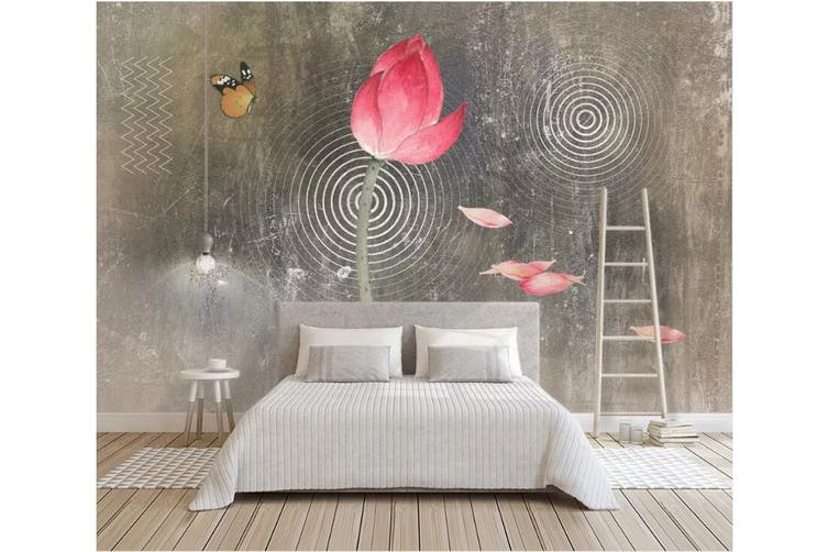 3D Lotus 917 Wall Murals Woven paper (need glue), XL 208cm x 146cm (WxH)(82''x58'')