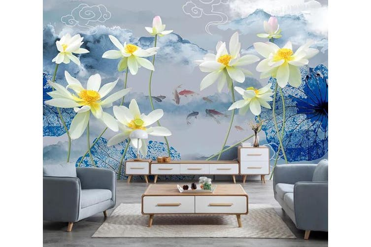 3D Lotus 915 Wall Murals Woven paper (need glue), XXXXL 520cm x 290cm (WxH)(205''x114'')