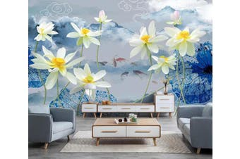 3D Lotus 915 Wall Murals Self-adhesive Vinyl, XXXXL 520cm x 290cm (WxH)(205''x114'')