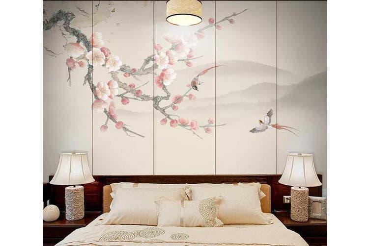 3D Branch Plum 914 Wall Murals Woven paper (need glue), XXL 312cm x 219cm (WxH)(123''x87'')
