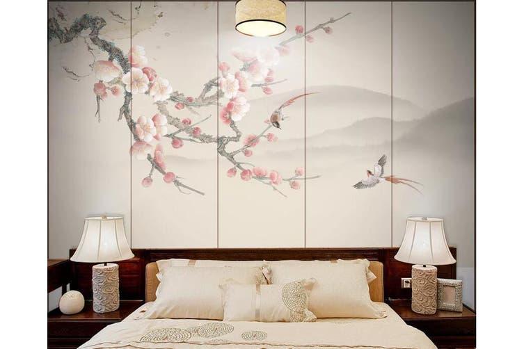 3D Branch Plum 914 Wall Murals Self-adhesive Vinyl, XXXL 416cm x 254cm (WxH)(164''x100'')