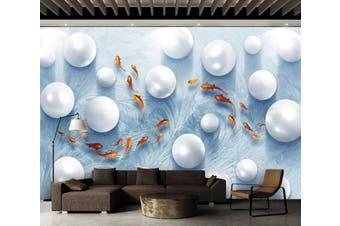 3D Round Pearl 912 Wall Murals Woven paper (need glue), XXL 312cm x 219cm (WxH)(123''x87'')