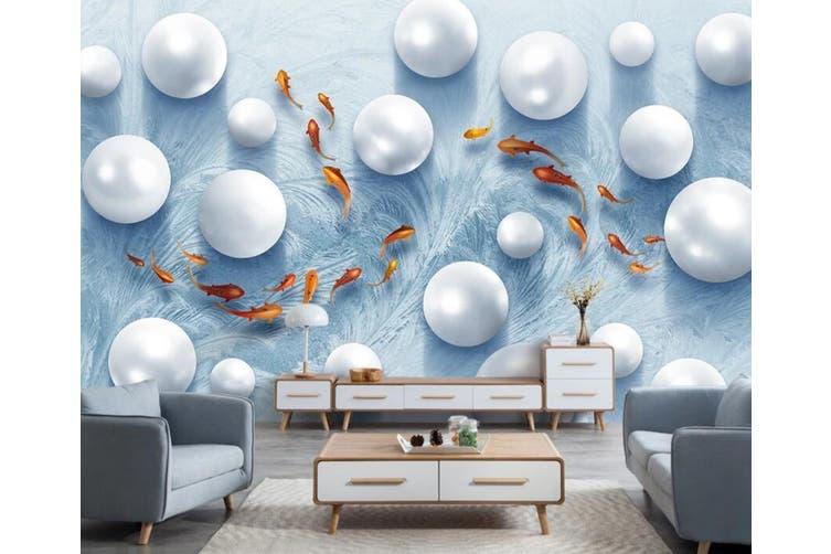 3D Round Pearl 912 Wall Murals Woven paper (need glue), XXXL 416cm x 254cm (WxH)(164''x100'')