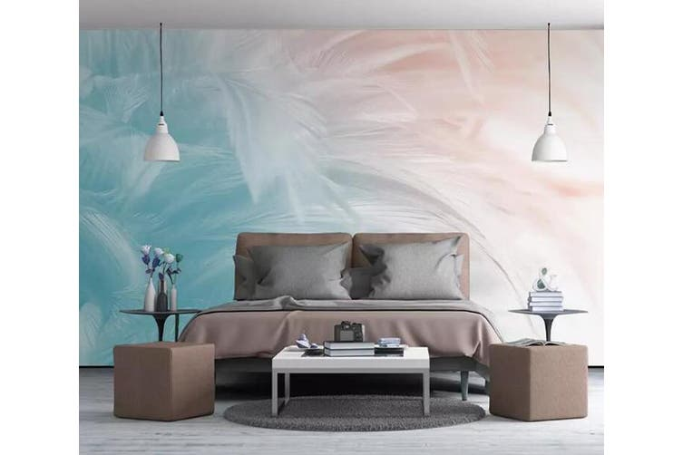 3D Colored Feather 910 Wall Murals Woven paper (need glue), XXL 312cm x 219cm (WxH)(123''x87'')