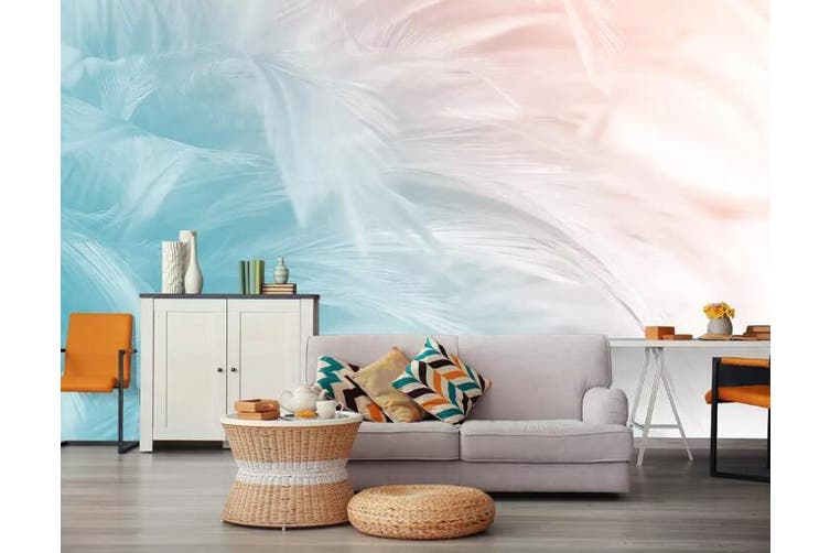 3D Colored Feather 910 Wall Murals Woven paper (need glue), XXXL 416cm x 254cm (WxH)(164''x100'')