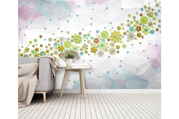 3D Colored Flowers 909 Wall Murals Self-adhesive Vinyl, XXL 312cm x 219cm (WxH)(123''x87'')