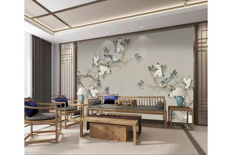 3D Flower Branches 908 Wall Murals Woven paper (need glue), XXL 312cm x 219cm (WxH)(123''x87'')