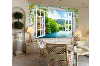 3D Window Waterfall 34 Wall Murals Self-adhesive Vinyl Wallpaper Murals