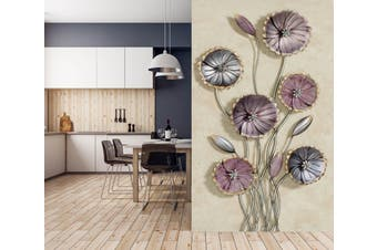 3D Metal Lotus 1868 Wall Murals Self-adhesive Vinyl Wallpaper Murals