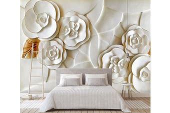 3D Embossed White Flower 050 Wall Murals Woven paper (need glue) Wallpaper Murals