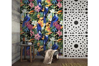 3D Blue Toucan Flower 53 Wall Murals Self-adhesive Vinyl Wallpaper Murals