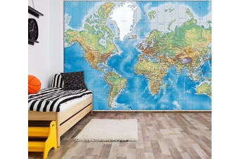 3D Blue World Map 046 Wall Murals Woven paper (need glue) Wallpaper Murals