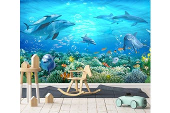 3D Aquarium Dolphin 013 Wall Murals Woven paper (need glue) Wallpaper Murals