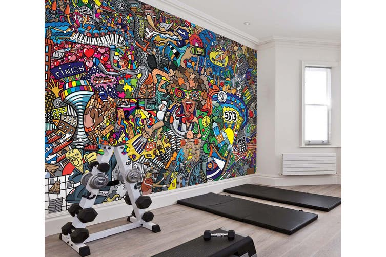 3D Color Graffiti 074 Wall Murals Woven paper (need glue), XXL 312cm x 219cm (WxH)(123''x87'')