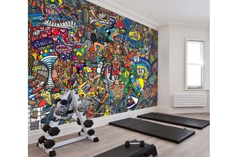 3D Color Graffiti 074 Wall Murals Self-adhesive Vinyl, XXXL 416cm x 254cm (WxH)(164''x100'')