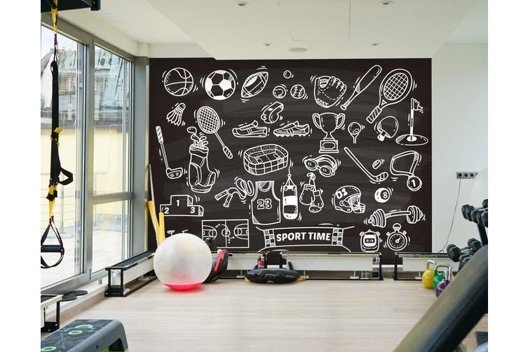 3D Sports Tool 072 Wall Murals Woven paper (need glue), XL 208cm x 146cm (WxH)(82''x58'')