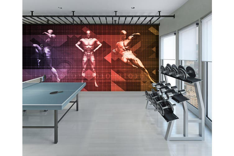 3D Fitness Muscle 070 Wall Murals Woven paper (need glue), XL 208cm x 146cm (WxH)(82''x58'')
