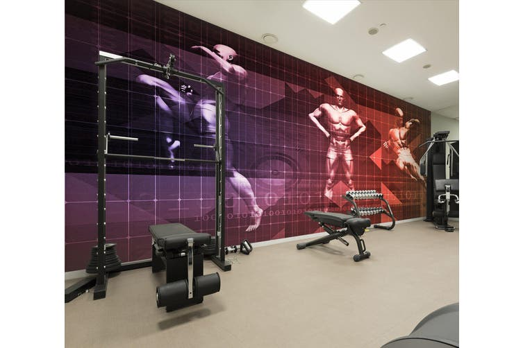 3D Fitness Muscle 070 Wall Murals Woven paper (need glue), XXL 312cm x 219cm (WxH)(123''x87'')