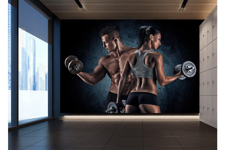 3D Double Dumbbell 068 Wall Murals Woven paper (need glue), XXL 312cm x 219cm (WxH)(123''x87'')