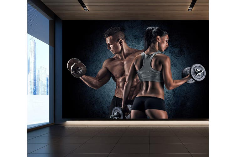 3D Double Dumbbell 068 Wall Murals Self-adhesive Vinyl, XL 208cm x 146cm (WxH)(82''x58'')