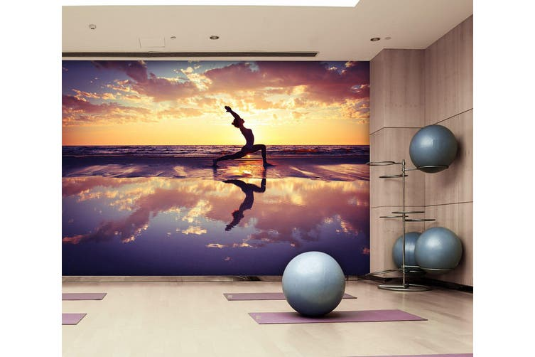3D Beach Yoga 067 Wall Murals Woven paper (need glue), XXXXL 520cm x 290cm (WxH)(205''x114'')