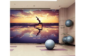 3D Beach Yoga 067 Wall Murals Self-adhesive Vinyl, XXL 312cm x 219cm (WxH)(123''x87'')