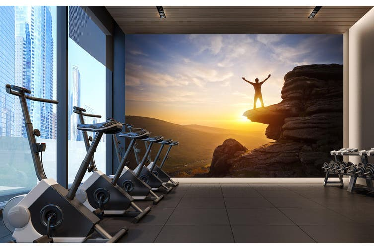 3D Mountain Sunset 061 Wall Murals Woven paper (need glue), XL 208cm x 146cm (WxH)(82''x58'')