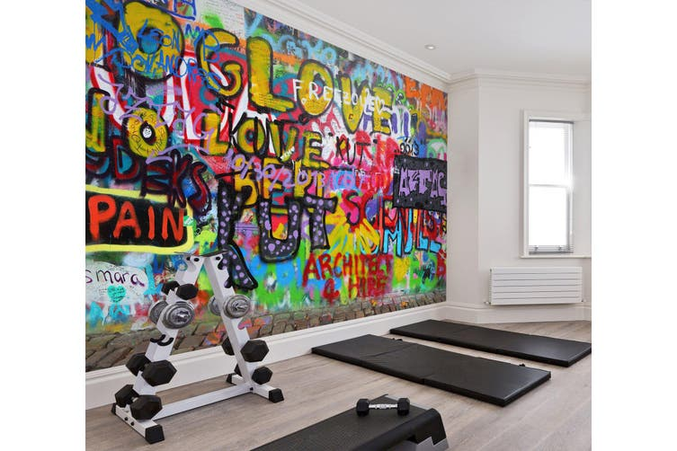 3D Colored Letters 060 Wall Murals Woven paper (need glue), XL 208cm x 146cm (WxH)(82''x58'')