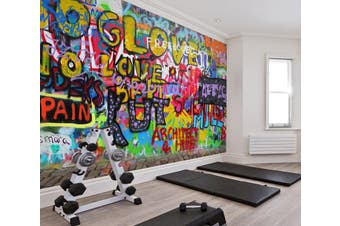 3D Colored Letters 060 Wall Murals Woven paper (need glue), XXXL 416cm x 254cm (WxH)(164''x100'')