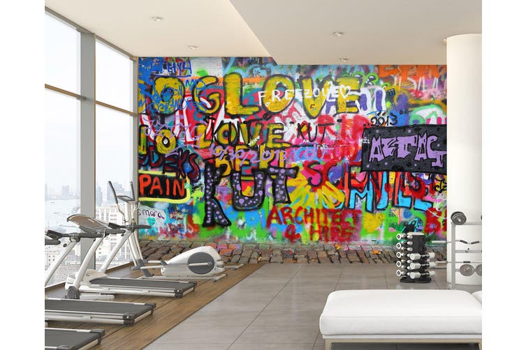 3D Colored Letters 060 Wall Murals Woven paper (need glue), XXXXL 520cm x 290cm (WxH)(205''x114'')