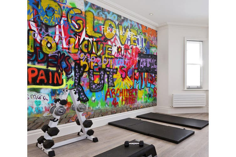 3D Colored Letters 060 Wall Murals Self-adhesive Vinyl, XXXXL 520cm x 290cm (WxH)(205''x114'')