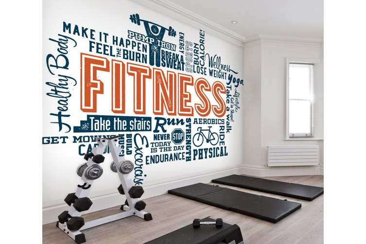 3D Fitness Letter 057 Wall Murals Woven paper (need glue), XXL 312cm x 219cm (WxH)(123''x87'')