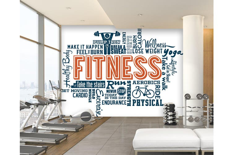 3D Fitness Letter 057 Wall Murals Woven paper (need glue), XXXXL 520cm x 290cm (WxH)(205''x114'')