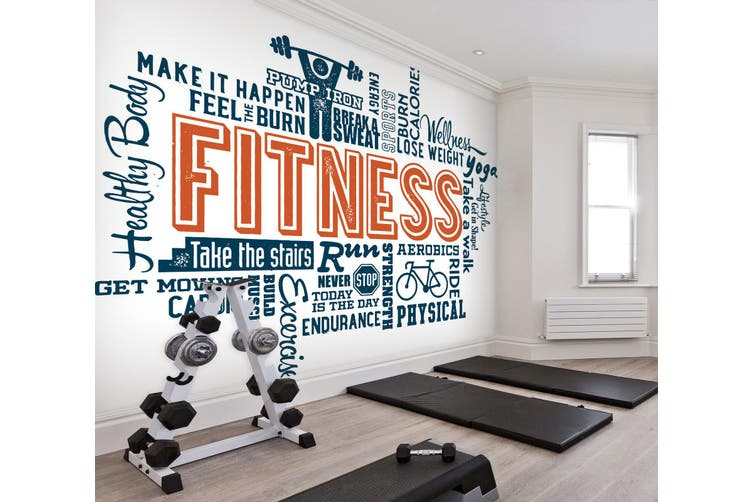 3D Fitness Letter 057 Wall Murals Self-adhesive Vinyl, XXXXL 520cm x 290cm (WxH)(205''x114'')