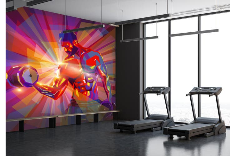 3D Dumbbell Abdominal Muscle 054 Wall Murals Woven paper (need glue), XL 208cm x 146cm (WxH)(82''x58'')