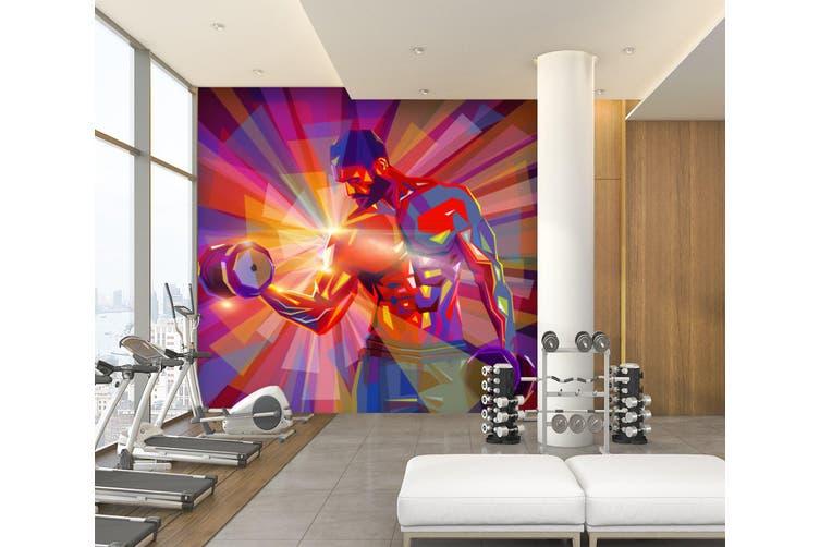 3D Dumbbell Abdominal Muscle 054 Wall Murals Woven paper (need glue), XXL 312cm x 219cm (WxH)(123''x87'')