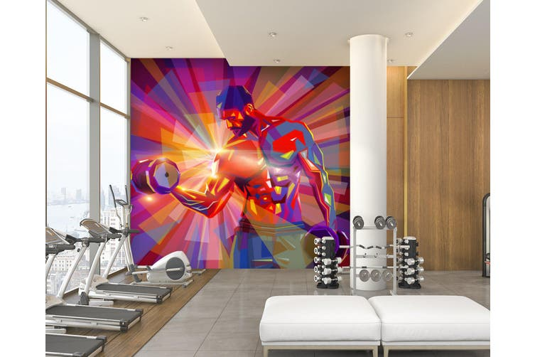 3D Dumbbell Abdominal Muscle 054 Wall Murals Self-adhesive Vinyl, XXL 312cm x 219cm (WxH)(123''x87'')