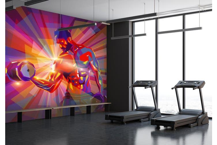 3D Dumbbell Abdominal Muscle 054 Wall Murals Self-adhesive Vinyl, XXXXL 520cm x 290cm (WxH)(205''x114'')
