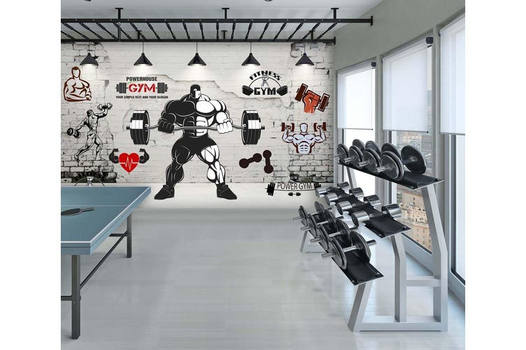 3D Lift The Barbell 052 Wall Murals Woven paper (need glue), XL 208cm x 146cm (WxH)(82''x58'')