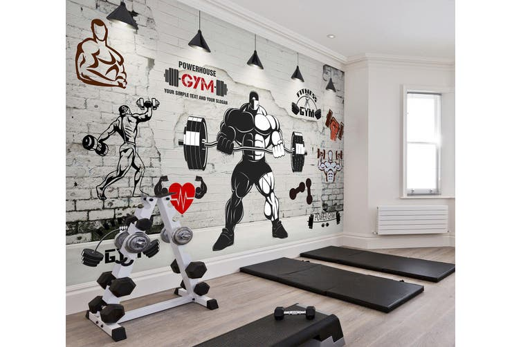 3D Lift The Barbell 052 Wall Murals Woven paper (need glue), XXL 312cm x 219cm (WxH)(123''x87'')
