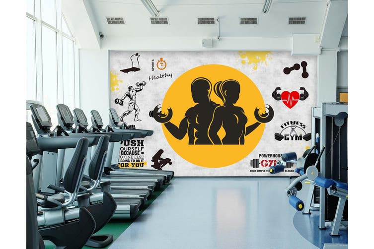 3D Fitness Equipment 051 Wall Murals Woven paper (need glue), XXXL 416cm x 254cm (WxH)(164''x100'')