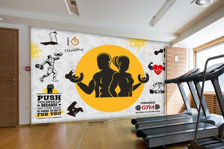 3D Fitness Equipment 051 Wall Murals Woven paper (need glue), XXXXL 520cm x 290cm (WxH)(205''x114'')
