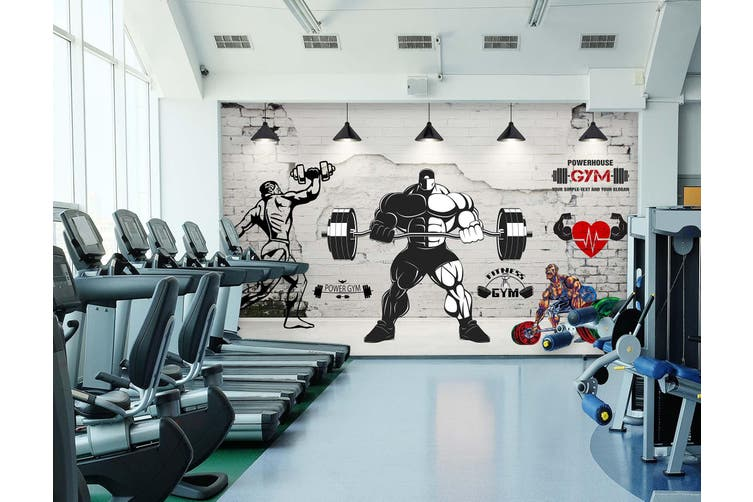 3D Men'S Barbell 050 Wall Murals Woven paper (need glue), XXL 312cm x 219cm (WxH)(123''x87'')