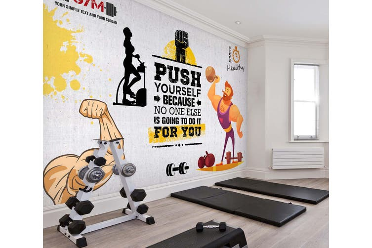 3D Fitness Equipment 049 Wall Murals Woven paper (need glue), XXL 312cm x 219cm (WxH)(123''x87'')