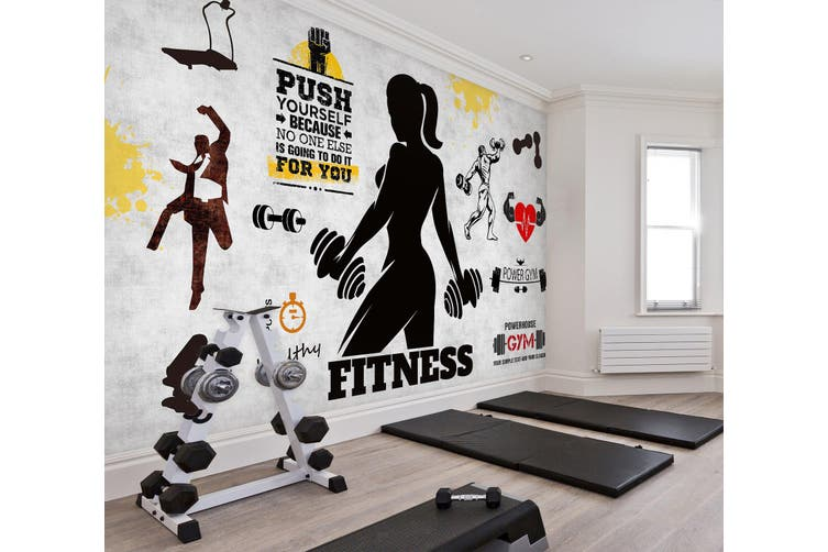 3D Lady Dumbbell 048 Wall Murals Woven paper (need glue), XXL 312cm x 219cm (WxH)(123''x87'')