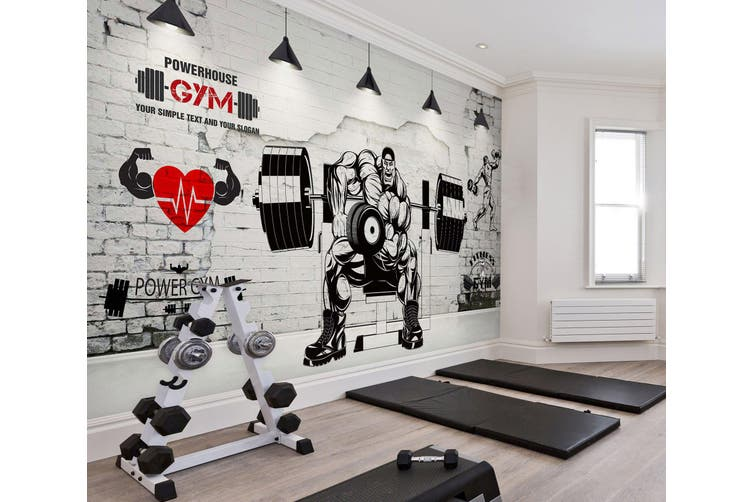 3D Muscle Barbell 047 Wall Murals Woven paper (need glue), XXL 312cm x 219cm (WxH)(123''x87'')