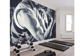 3D One-Handed Dumbbell 046 Wall Murals Woven paper (need glue), XXL 312cm x 219cm (WxH)(123''x87'')