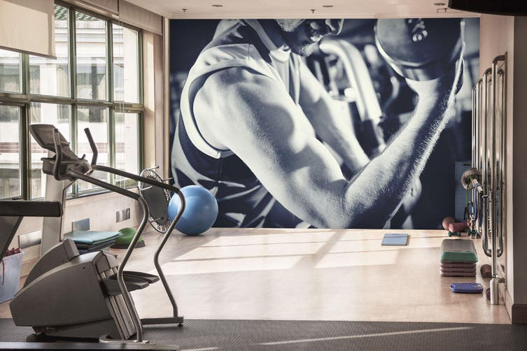 3D One-Handed Dumbbell 046 Wall Murals Woven paper (need glue), XXXL 416cm x 254cm (WxH)(164''x100'')