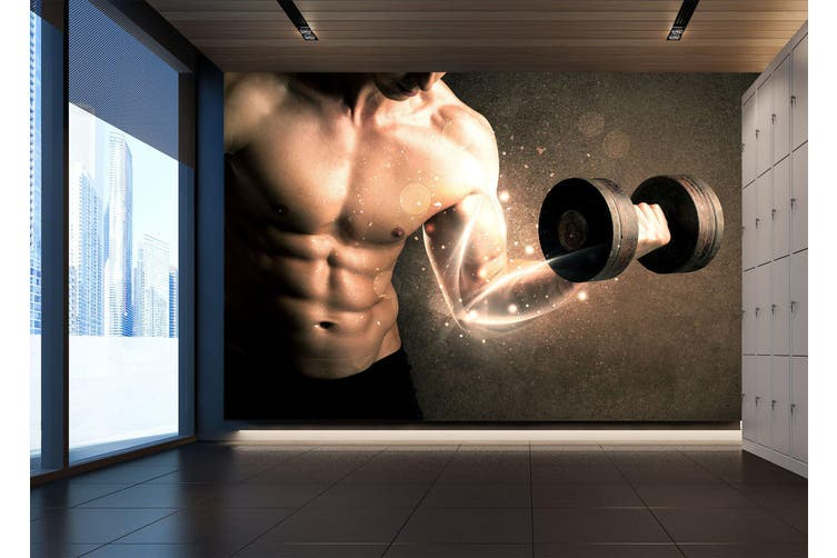 3D One-Handed Dumbbell 045 Wall Murals Woven paper (need glue), XL 208cm x 146cm (WxH)(82''x58'')